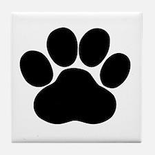 Black Dog Paw Tile Coaster