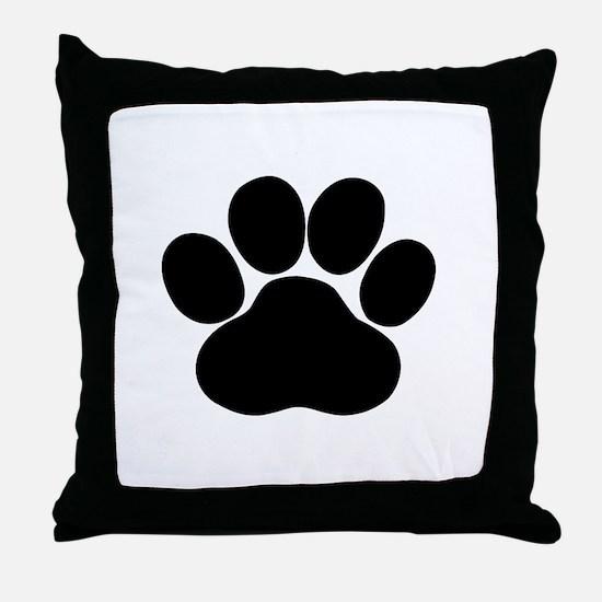 Black Dog Paw Throw Pillow