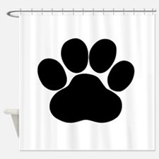 Black Dog Paw Shower Curtain
