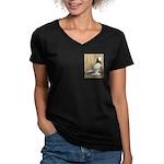 WOE Brown Bar Bald Women's V-Neck Dark T-Shirt