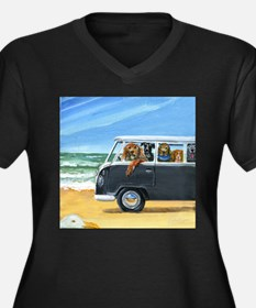 Bus Full of Dogs on the Beach Plus Size T-Shirt
