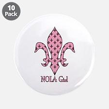 "NOLA Girl Fleur de lis (pink) 3.5"" Button (10 pack"