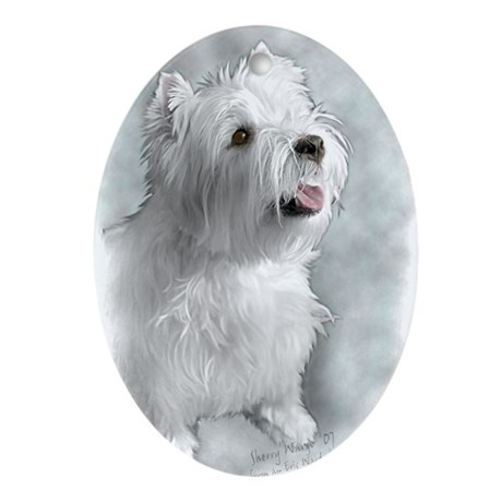Westie Request Oval Ornament