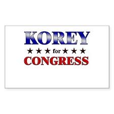 KOREY for congress Rectangle Decal