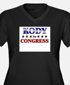 KODY for congress Women's Plus Size V-Neck Dark T-