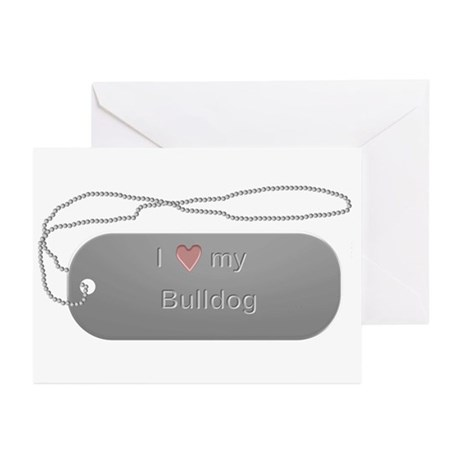 Dogtag- Bulldog Greeting Cards (Pk of 10)