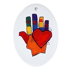 Hand and Heart Oval Ornament