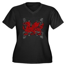 Welsh Dragon Women's Plus Size V-Neck Dark T-Shirt