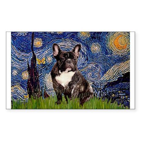 Starry Night French Bulldog 7 Sticker (Rectangular