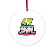47th Birthday Cake Ornament (Round)