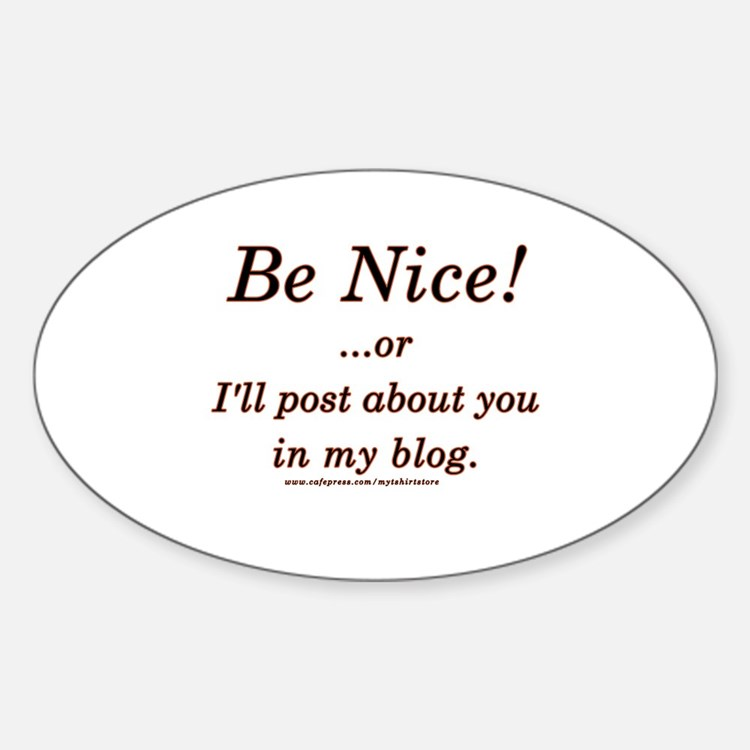 Funny Blogger Joke Oval Decal