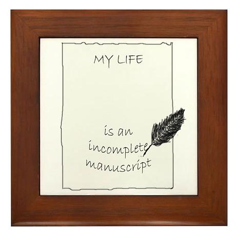 Incomplete Manuscript (Black) Framed Tile