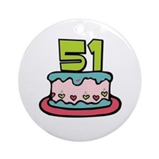 51st Birthday Cake Ornament (Round)