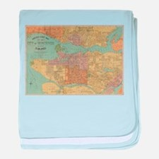 Vintage Map of Vancouver Canada (1920 baby blanket