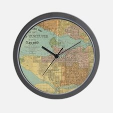Vintage Map of Vancouver Canada (1920) Wall Clock