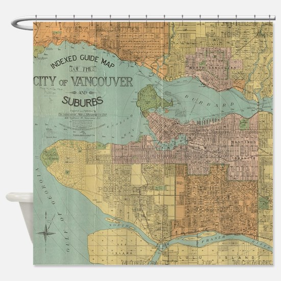 Vintage Map of Vancouver Canada (19 Shower Curtain