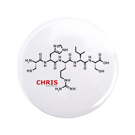 """Chris name molecule 3.5"""" Button"""