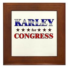 KARLEY for congress Framed Tile