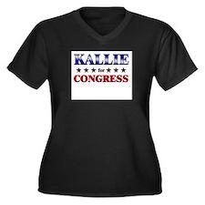 KALLIE for congress Women's Plus Size V-Neck Dark