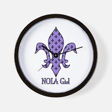 NOLA Girl Fleur de lis (purple) Wall Clock