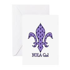 NOLA Girl Fleur de lis (purple) Greeting Cards (Pk