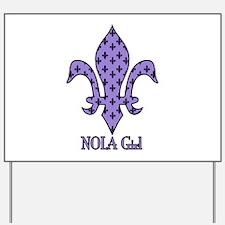 NOLA Girl Fleur de lis (purple) Yard Sign