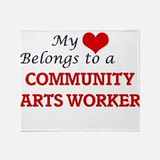 My heart belongs to a Community Arts Throw Blanket