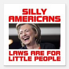 """HILLARY LITTLE PEOPLE Square Car Magnet 3"""" x 3"""""""
