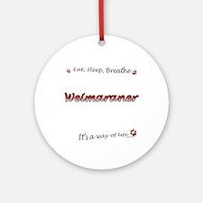 Weimaraner Breathe Ornament (Round)