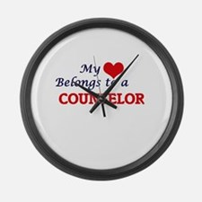My heart belongs to a Counselor Large Wall Clock
