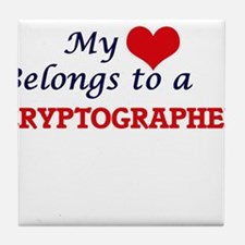 My heart belongs to a Cryptographer Tile Coaster