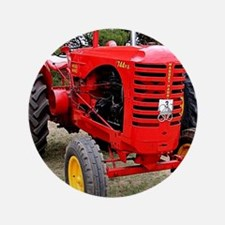Old red tractor Button
