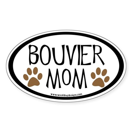 Bouvier Mom Oval (inner border) Oval Sticker