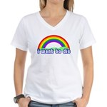 I Want To Die Women's V-Neck T-Shirt