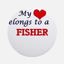 My heart belongs to a Fisher Round Ornament