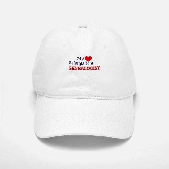 My heart belongs to a Genealogist Baseball Baseball Cap