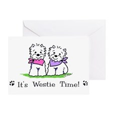 Its westie time 2 pink crop Greeting Cards