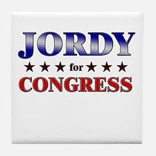 JORDY for congress Tile Coaster