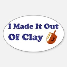 Dreidel Out Of Clay Oval Decal