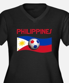 TEAM PHILIPPINES Women's Plus Size V-Neck Dark T-S