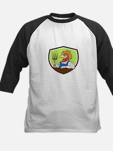 Chicken Farmer Pitchfork Crest Cartoon Baseball Je