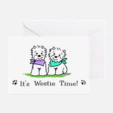 Its westie time lavendar green crop Greeting Cards