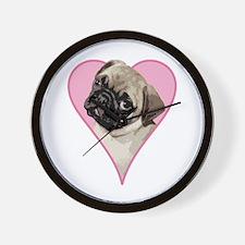 Heart Pug - Wall Clock