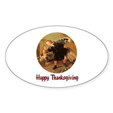 Boy and Thanksgiving Turkey Oval Decal
