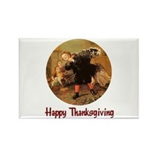 Boy and Thanksgiving Turkey Rectangle Magnet