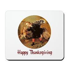Boy and Thanksgiving Turkey Mousepad