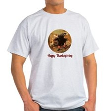 Boy and Thanksgiving Turkey T-Shirt