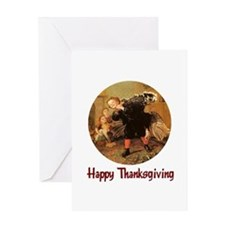 Boy and Thanksgiving Turkey Greeting Card