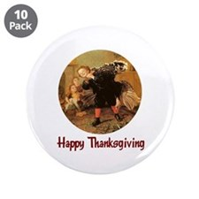 """Boy and Thanksgiving Turkey 3.5"""" Button (10 pack)"""