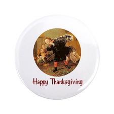 "Boy and Thanksgiving Turkey 3.5"" Button"